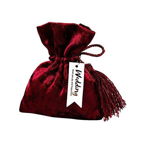 Fngedex 10 bolsas de terciopelo de color rojo vino europeo, creativas para regalo de boda, bolsas de dulces con cordón para joyas, bolsa de dulces de Navidad