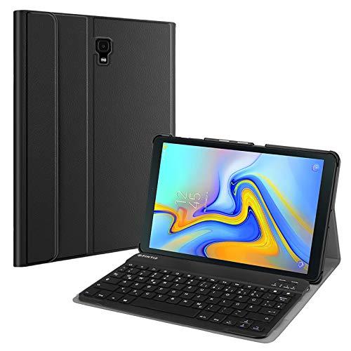 Fintie Tastatur Hülle für Samsung Galaxy Tab A 10.5 SM-T590/T595 2018 Tablet-PC - Superdünn leicht Schutzhülle mit magnetisch Abnehmbarer drahtloser Deutscher Bluetooth Tastatur, Schwarz