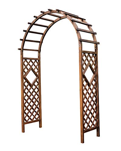 F-XW Outdoor Arch Wooden Arbour Garden Arbor with Trellis Archway for Climbing Plants, Brown