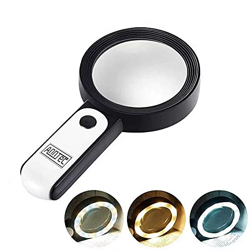 AnnTec 拡大鏡 LEDライト付き 30倍 虫眼鏡 手持ちルーペ 高倍率 見やすい 拡大レンズ 調光3段階 日本語取扱説明書
