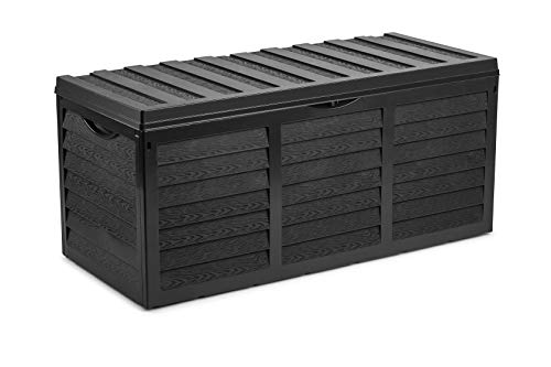 Serinova 84 Gallon Black Resin Outdoor Storage Box - Deck - Patio Furniture - Wooden Fence Panel Effect - Rollers Mobility - Large Capacity - Perfect to Store Garden Tools and Pool Toys - Waterproof