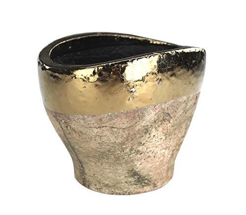 DARO DEKO Blumentopf oval L aus Keramik - braun mit Goldrand