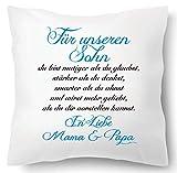Farbwuselei Cojín con texto en alemán Für unseren Sohn In Liebe Mama und Papa Azul Funda de cojín Inlay Cojín Regalo padres