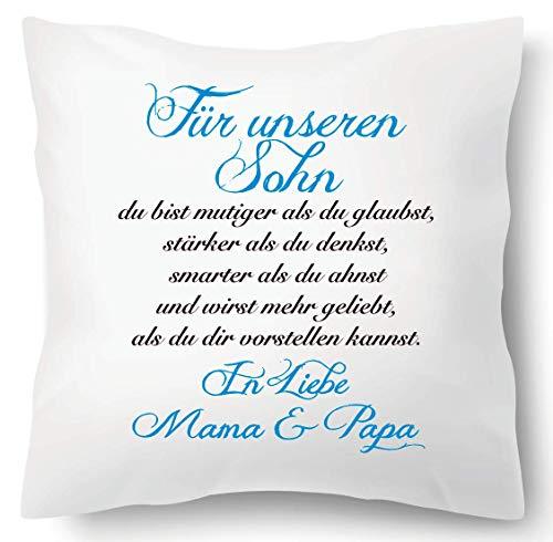Farbwuselei Kissen mit Spruch Für unseren Sohn In Liebe Mama und Papa Blau Kissenhülle Inlay Kissenbezug Geschenk Eltern