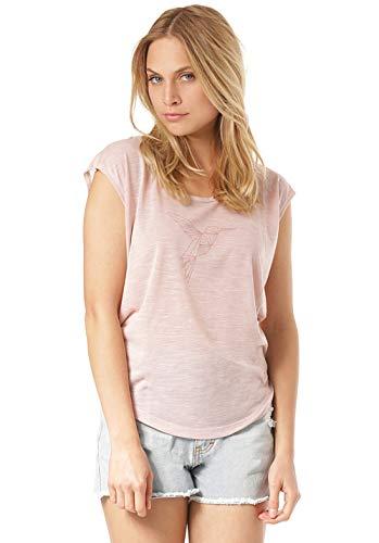 Lakeville Mountain Damen T-Shirt Kolimbin mit Kolibri Frontprint | Tailliertes Kurzarm Oberteil mit Rundhals-Ausschnitt | Frauen Sommer Print Bluse Tunika Tops | Rosa, XL
