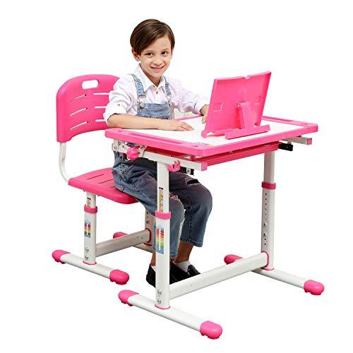 Kids Desk and Chair Set ,Height Adjustable Children#039s Desk and Chair Set ,Spacious Storage Drawer,Tiltable anti reflection desktop Mobile reading shelf for School Students,Kids(Blue,Pink) Pink