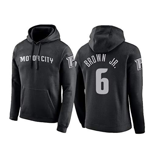 USSU Sudadera de baloncesto con capucha para deportes de manga larga con capucha, estilo retro, no se decolora, para eventos deportivos profesionales, color negro, S
