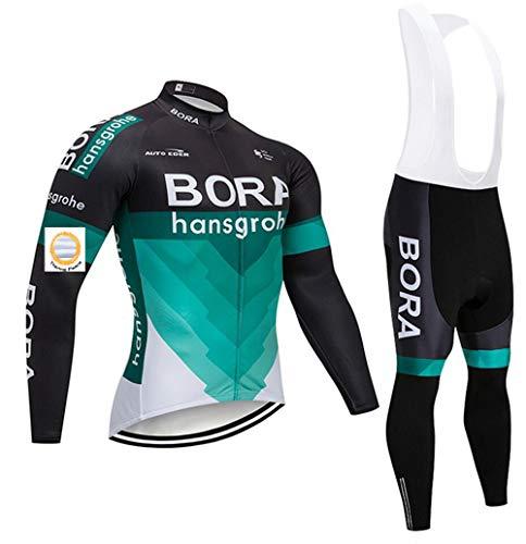 Bike Completo Ciclismo Uomo Invernale, a Maniche Lunghe con Pantaloni con Bretelle per MTB,Pile Termico Invernale