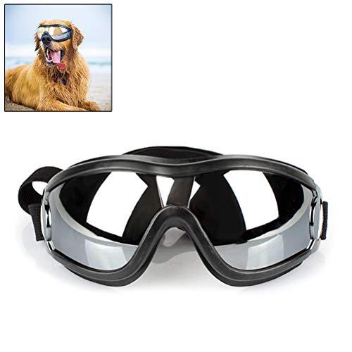 Vaious Hundebrille Hundesonnenbrille wasserdichte Sonnenschutzbrille, verstellbar, schwarz