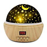DSTANA Star Projector Night Lights for Kids with Super Timer, Best Gifts Idea for 1-12 Year Old Girl and Boy, Room Lights Glow in The Dark Stars and Moon can Make Child Sleep Peacefully-Wooden Grain