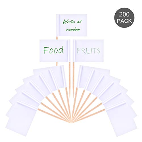 OOTSR 200 stücke Weiße Flagge Zahnstocher, leere Zahnstocher Fahnen für Cupcake, Cocktail-Sticks, Sandwich, Obst, Snacks, Lebensmittel Label Party Dekorationen