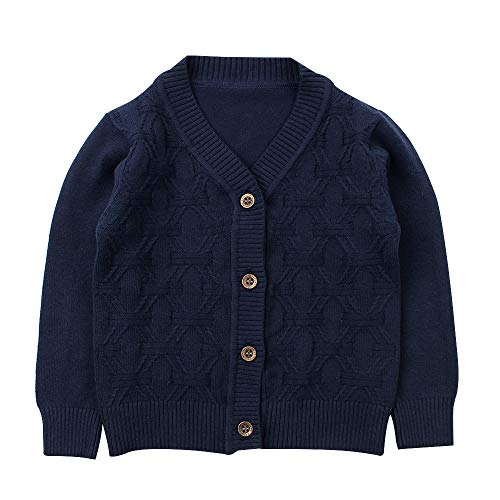 Baby Boy Cardigan Infant Toddler Crochet Sweater V-Neck,Button Up,Knitted Pattern Pullover Sweatshirt Spring (4Years, Navy)