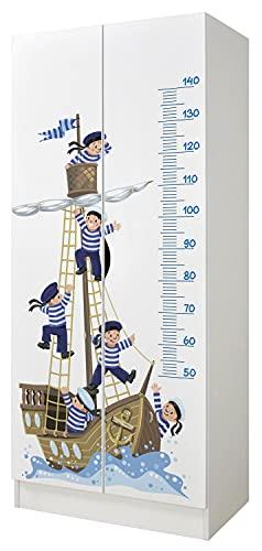 Leomark Armario Funcional de Madera - Roma - con Puertas correderas, Blanco Armario para niños, Estilo escandinavo (Marineros en el Barco)