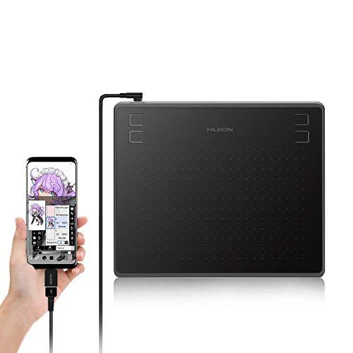 HUION ペンタブレット HS64 Android6.0以上、OTG対応可携帯と接続可能 筆圧8192充電不要ペン 4個のショートカット OTG接続端子付き