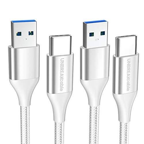UNBREAKcable [Lot de 2 Câble de Type C vers USB 3.0 Câble Charge Rapide en Nylon Tressé, Compatible avec Samsung Galaxy S10/S9/S8, Note 9/8/7, Huawei P20/P10, Google Pixel, Sony - 2M Gris Argenté