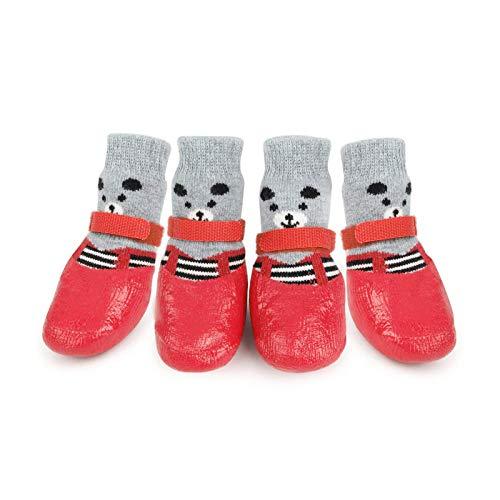HUI JIN Calcetines para perro para mascotas, impermeables, antideslizantes, protectores de patas para interiores y exteriores, 4 unidades, color rojo
