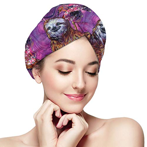 Time Sloth Sea Camel Microfiber Hair Towel Wraps with Button for Women Quick Dry Anti-frizz Head Turban for Long Thick Curly Hair Super Absorbent Soft