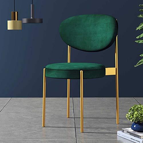 GZLL Living Accent Chairs Chambre, Chaises, Salle à Manger Cuisine avec Pieds en métal doré, Doux Velours Retour Fauteuils, for Chambre Café Vanity (Couleur : Vert)