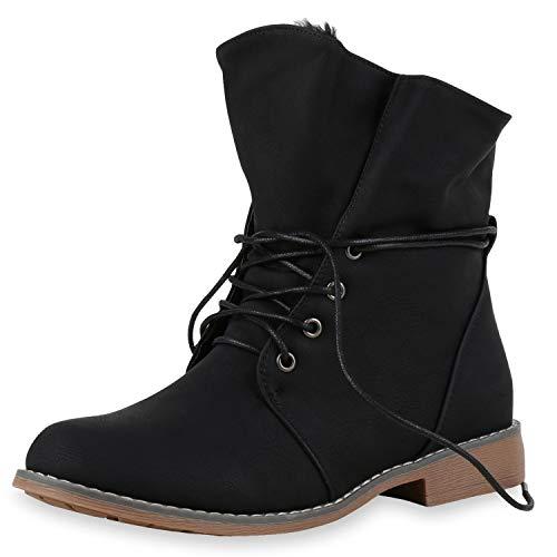 SCARPE VITA Damen Stiefeletten Worker Boots Schnürstiefel Warm Gefüttert 151844 Schwarz Schwarz 38