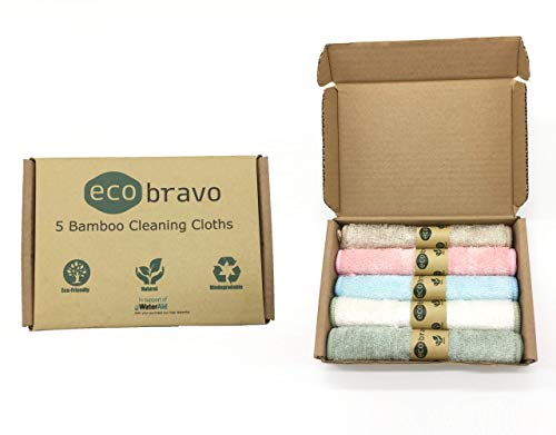 Eco Bravo Reusable Bamboo Fibre Kitchen Cleaning Cloth (5 Pack) | Bamboo Washcloth, Dish Towels | 100% Natural & Organic, Lint Free, Antibacterial Cloths, Plastic Free Packaging