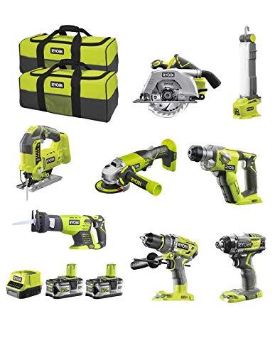 RYOBI Kit RK18825A (R18CS + R18JS + RRS1801M + R18IDBL + R18SDS + R18PD7 + R18AG + R18ALF + 2 x 5,0 Ah + RC18120 + Werkzeugtasche)