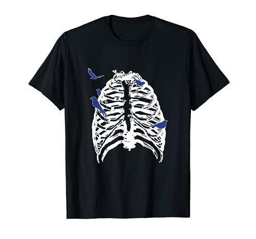 Skeleton Rib Cage With Songbirds! | Emo Skeleton T-shirt