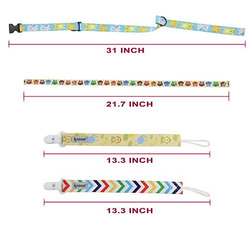 Ipow® Cintura di portaciuccio, laccio di sicurezza per bottiglie e giocattolo per seggiolino passeggino carrozzina. Confezione da 4.