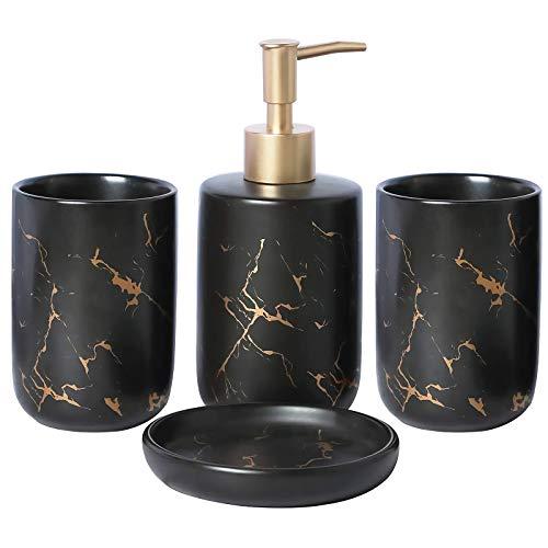 BQSWYD Badezimmer Set Luxuriöses Badezimmer Zubehör Set aus Keramik, 4-teiliges Stilvolles Badzubehör mit Marmor Seifenspender, Seifenschale und Zahnputzbecher