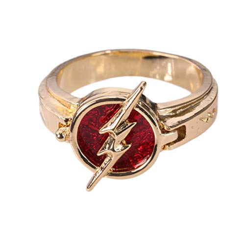 Mesky Anello The Flash Season 5 Nuovo in Lega di Zinco Colore Rosso e Oro Accessorio Costume Cosplay Regalo per Unisex Adulti Fans