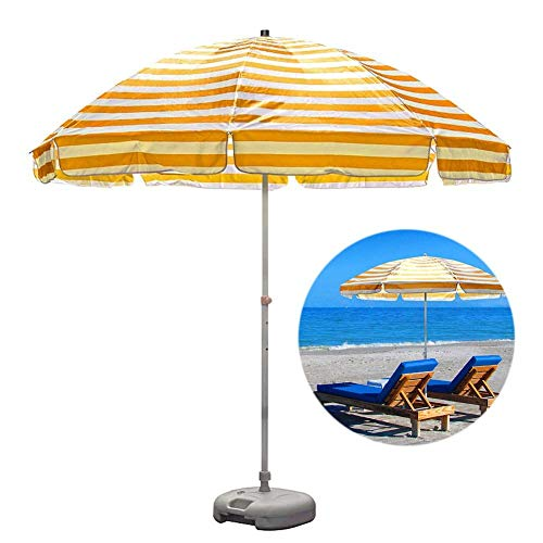 MLTYQ 8.2ft Striped Beach Umbrella UV 50+, Portable Outdoor Patio Garden Umbrella Sun Shelter with 8 Sturdy Ribs and Crank (Color : Yellow and white stripes)
