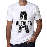 Herren Tee Männer Vintage T-Shirt Letter A Countries and Cities Alfalfa Weiß