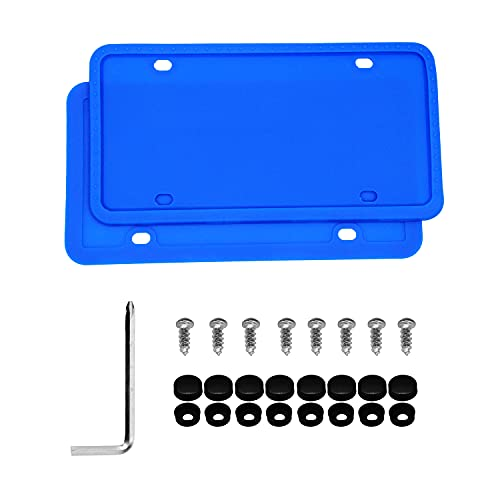FALLMIYA Silicone License Plate Frame,8 Drainage Holes Design,Universal American Car 4 Color License Plate Frame Cover,Rust-Proof, Rattle-Proof,Weather-Proof