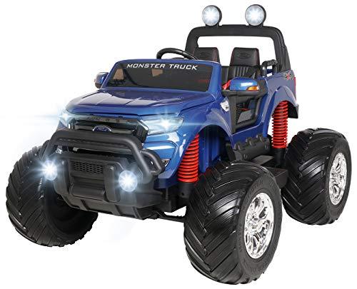 Actionbikes Motors Kinder Elektroauto Ford Ranger Monster - 4 x 45 Watt Motor - Touchscreen - Allrad - 2-Sitzer - Rc Fernbedienung - Elektro Auto für Kinder ab 3 Jahre (Blau Lackiert)