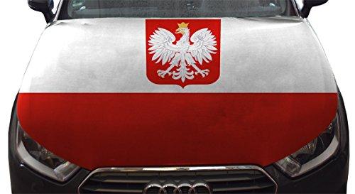 Sonia Originelli WM Motorhauben Überzieher Fußball Fan Auto Fahne Länder Flagge Farbe Polen mit Wappen