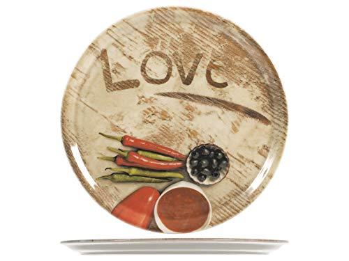 SATURNIA Love Confezione 6 Piatti Pizza, Porcellana, Assortito, 33 Cm