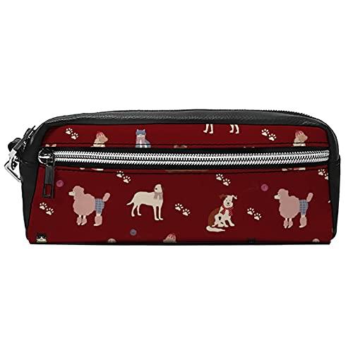 Bolsas de cosméticos portátiles Estuche para lápices Magic School Maquillaje Bolsa de Perros y Gatos Burdeos Cuero PU Neceser Cartera Hangbag Pen Organizador con Cremallera