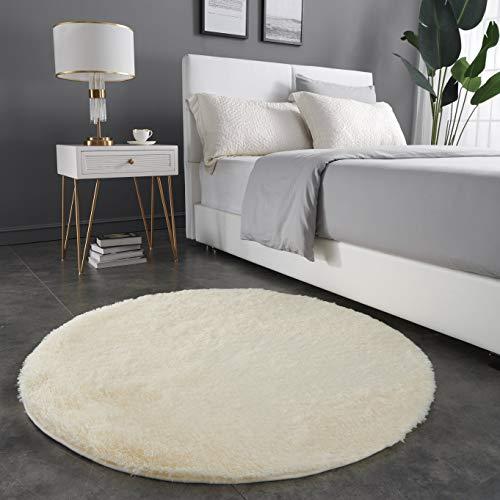 Teppich Wölkchen Hochflor-Plüsch-Teppich I Wohnzimmer Kinderzimmer Schlafzimmer Flur Läufer I rutschfeste Unterseite I 120 rund - Creme