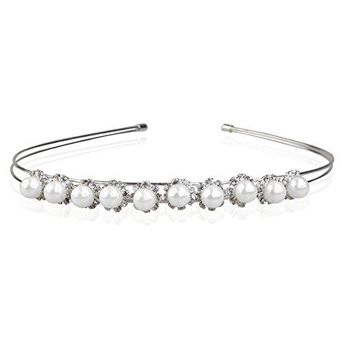 Pixnor Haarreif für Damen, Braut, Haarband, Diadem, Kopfschmuck, mit Perlen und Strass