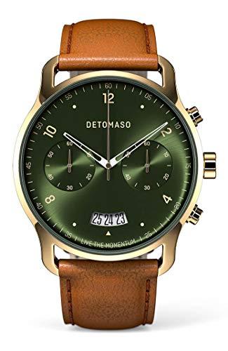 DETOMASO SORPASSO Chronograph Gold Green Herren-Armbanduhr Analog Quarz Italienisches Lederarmband Braun