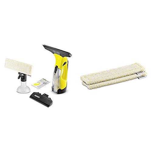 Kärcher Akku Fenstersauger WV 5 Premium mit wechselbarem Akku inkl. Zubehör + WV Mikrofaser-Wischbezug Indoor