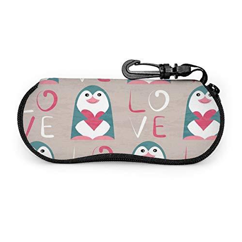 Funny Z Estuche de Gafas de Sol Portátil Ligero Pingüino con Corazón y Amor Viaje Bolso de Anteojos con Cremallera de Neopreno Suave