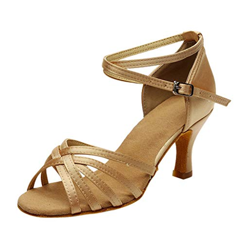 Dasongff Tanzschuhe Damen Gold, Frau Standard & Latein Dance Schuhe Peep Toe Ballschuhe Salsa Tango Shoes Professionelle High Heels Schuhe Lateinische Sandalen Pumps