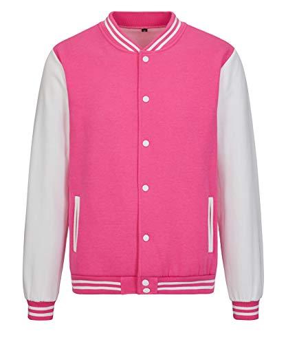 TRIFUNESS Varsity Jacket Letterman Jacket Baseball Jacket with Long Sleeve Banded Collar Hot Pink