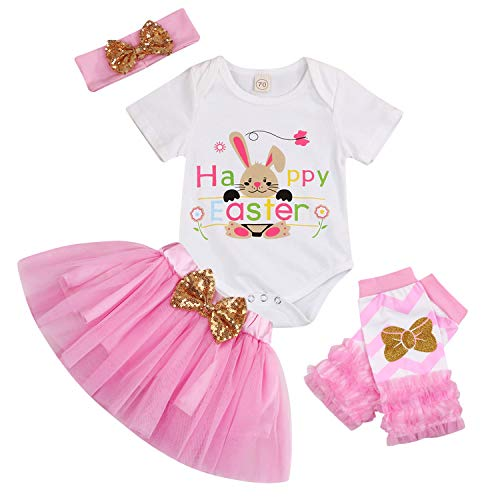 Baby Girl Happy Easter Outfits Bunny Print Short Sleeve Romper+Pink Tutu Dress+Ruffled Leg Warmers+Headband 4Pcs Skirt Set (Pink, 0-6 Months)