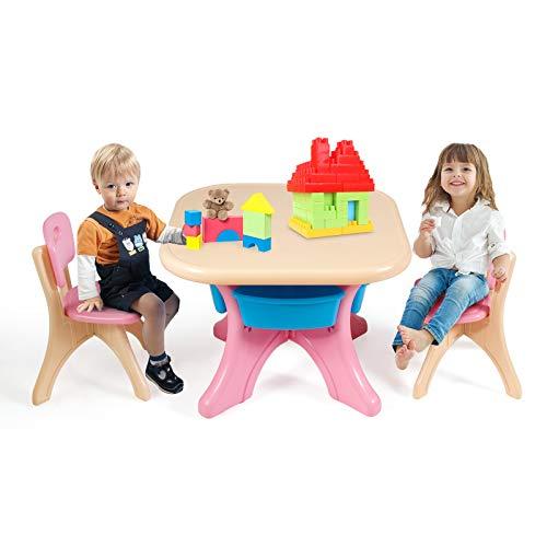 Goplus Set di Tavolo con 2 Sedie per Bambini con 4 Contenitori, Tavolino e Sgabelli in Plastica, Robusto e Facile da Pulire, Facile Montaggio (Rosa)