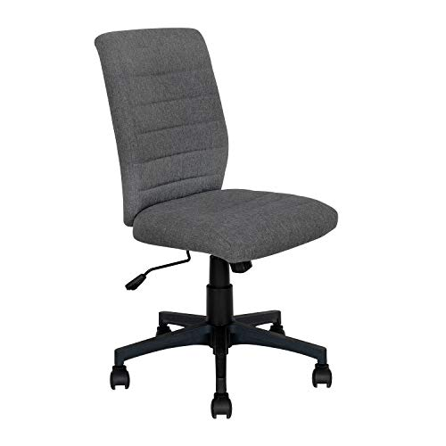 Armless Office Chair with Wheels Ergonomic Home Computer Desk Chair Mid Back Modern Swivel Adjustable Height Tesk Chair Linen Fabric,Dark Grey