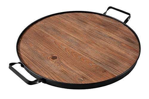 Thirteen Chefs Farmhouse Wine Barrel Top Serving Tray, Round Wood Platter with Iron Handles