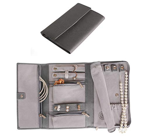 CASE ELEGANCE Saffiano Leather Travel Jewelry Case - Jewelry Organizer