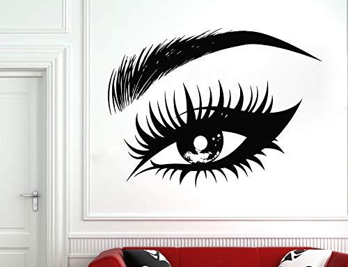Etiqueta de la pared del ojo femenino pestañas pestañas cejas salón de belleza etiqueta de la pared maquillaje ventana murales de vidrio A6 56x42cm