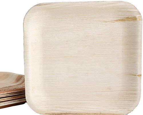 KOKA Lot de 50 assiettes jetables carrées en feuille de palmier respectueuses de l'environnement et compostables Dimensions extérieures 20 x 20 cm
